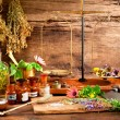 Ancient natural medicine, herbal, vials and scale ...