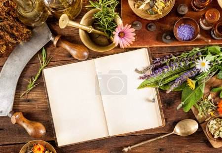 Foto de La medicina natural, hierbas, medicamentos y viejo libro con espacio de copia de su texto - Imagen libre de derechos