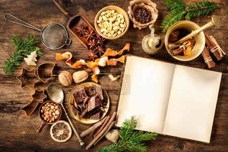 Photo for Baking concept background with cookbook, spices and utensils for Christmas cookies - Royalty Free Image