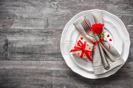 Photo for Valentines day table place setting. Holidays background - Royalty Free Image