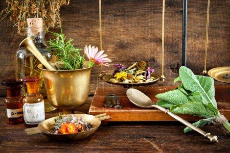 Photo pour Médecine ancienne à base de plantes, flacons et écailles sur fond en bois - image libre de droit