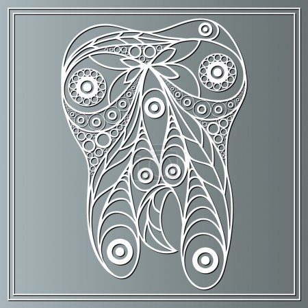 Illustration with a tooth in floral style 8