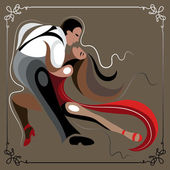 Illustration of a couple dancing the tango 1 ocher