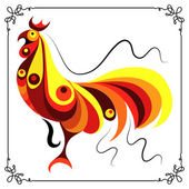 Graphic illustration with a fiery cock 14