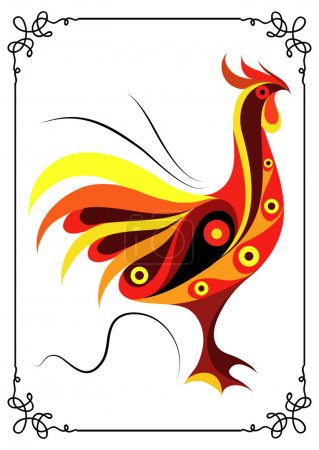 Graphic illustration with a fiery cock 18