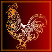 Graphic illustration of fire cock symbol of 2017 Suitable for invitation flyer sticker poster banner cardlabel cover web Vector element for New Year's design
