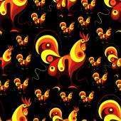 Seamless texture (pattern) with cock (rooster) - symbol of 2017 (fire cock) Suitable for design: cloth web wallpaper wrapping Vector illustration for New Year's design