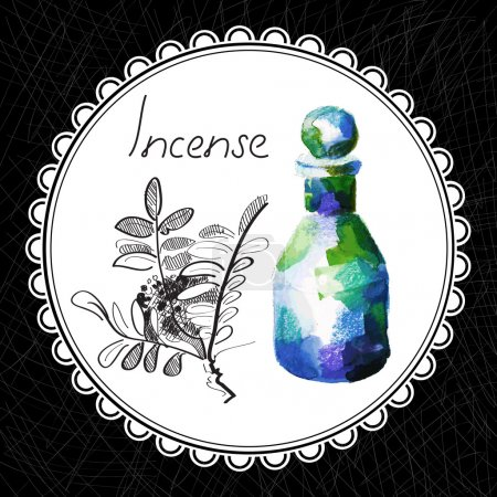 Illustration for Health and Nature Collection. Aromatic incense oil (watercolor and graphic illustration) - Royalty Free Image