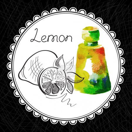 Illustration for Health and Nature Collection. Aromatic lemon oil (watercolor and graphic illustration) - Royalty Free Image
