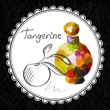 Illustration for Health and Nature Collection. Aromatic tangerine oil (watercolor and graphic illustration) - Royalty Free Image