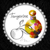 Health and Nature Collection Aromatic tangerine oil (watercolor and graphic illustration)