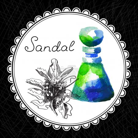 Illustration for Health and Nature Collection. Aromatic sandal oil (watercolor and graphic illustration) - Royalty Free Image