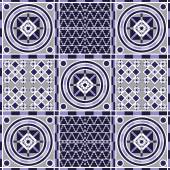 Vector seamless patchwork background from ornaments geometric patterns Moroccan texture