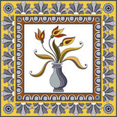 Abstract floral pattern from decorative ornament elements  Portuguese texture (background) with flowers in a vase for packing textile interior web design