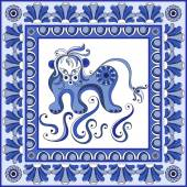 Abstract pattern from decorative ornament elements  Portuguese texture (background) with lion for packing textile interior web design