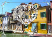Burano island in the Venetian lagoon Colorful houses  in Burano Venice Italy Vector illustration