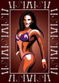 Graphic illustration of young bodybuilder woman Vector for sport club label banner or poster design