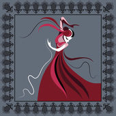 Spanish young girl in a red dress dancing flamenco Suitable for invitation flyer sticker poster banner cardlabel cover web Vector illustration