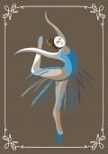 Young dancer (ballerina) Suitable for invitation flyer sticker poster banner cardlabel cover web Vector illustration