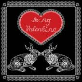 Lace valentine heart in floral style with rabbits Suitable for invitation flyer sticker poster banner cardlabel cover web Vector illustration