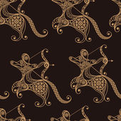 Seamless texture  (background) with lace pattern (with Sagittarius) For design: cloth web wallpaper wrapping Zodiac horoscope and astrology (astronomy)-symbol Vector illustration
