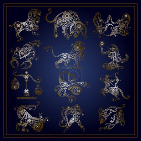 Illustration for Set of zodiac icons (astrology, astronomy). Horoscope signs as cartoon characters. Vector illustration. - Royalty Free Image