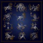 Set of zodiac signs in floral style 1