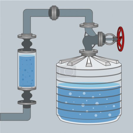 Illustration for Infographics scheme with liquid, water tank and pipes. Vector illustration - Royalty Free Image