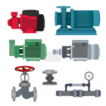Illustration for Set - water motor, pump and valves for pipeline. Vector illustration - Royalty Free Image