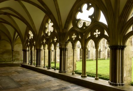 arches of Cathedral cloister , Salisbury