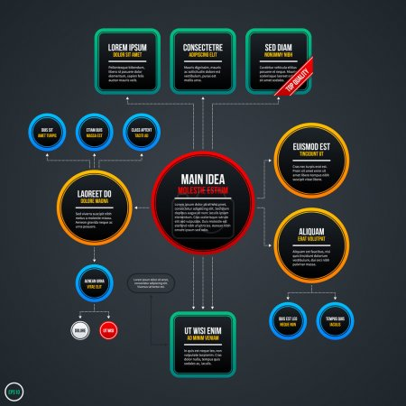 Illustration for Organization chart template with different elements. EPS 10 - Royalty Free Image