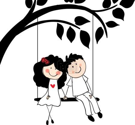 Doodle lovers on swing