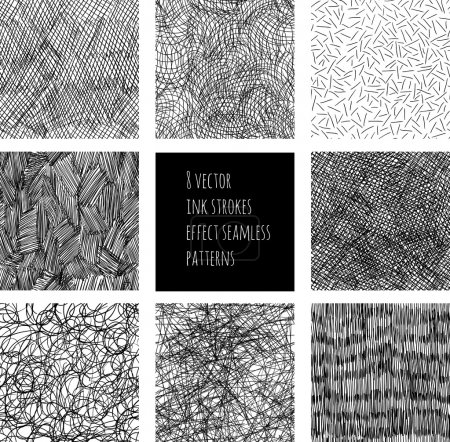 Ink strokes effect seamless patterns
