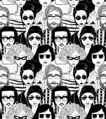 Doodle crowd in sunglasses seamless pattern