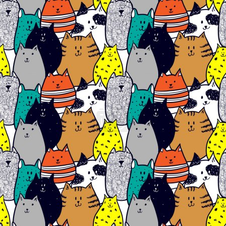 Doodle funny cats seamless pattern
