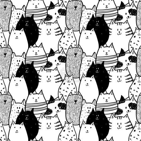 Illustration pour Doodle funny cats seamless pattern. Vector illustration - image libre de droit