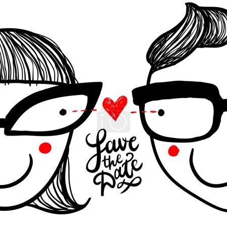 """Cute doodle """"in love"""" couple in eyeglasses"""