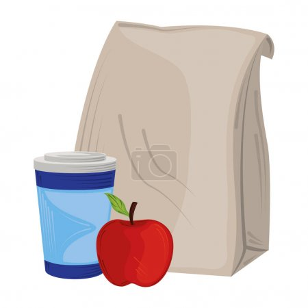 Illustration for Takeaway coffee cup apple and paper bag icon isolated design vector illustration vector illustration - Royalty Free Image