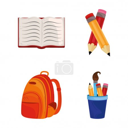 Illustration for Back to school, open book backpack and pencils education vector illustration - Royalty Free Image
