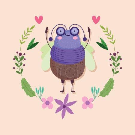 Photo pour Funny bug animal floral flower wreath decoration cartoon vector illustration - image libre de droit
