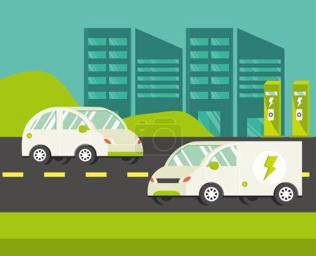 Illustration pour Ville avec des voitures électriques dans la rue - image libre de droit
