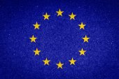Vlajka EU na pozadí