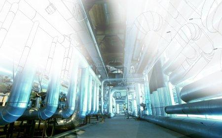 Photo pour Croquis de la conception de la tuyauterie mélangée avec l'équipement industriel photo - image libre de droit