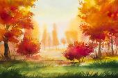Autumn landscape Watercolor illustration
