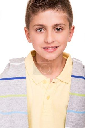 Boy posing over white