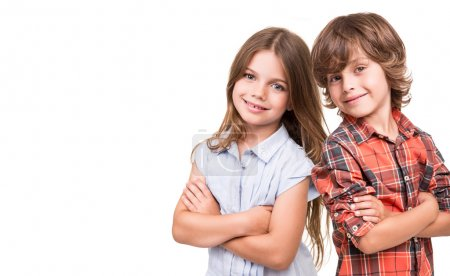 Photo for Cool little kids posing over white background - Royalty Free Image