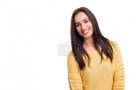 Photo for Pretty woman posing isolated over white background - Royalty Free Image