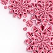 """Постер, картина, фотообои """"Современный фон с розовым 3d бумажные цветы"""""""