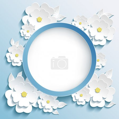 Greeting or invitation card, frame with 3d sakura