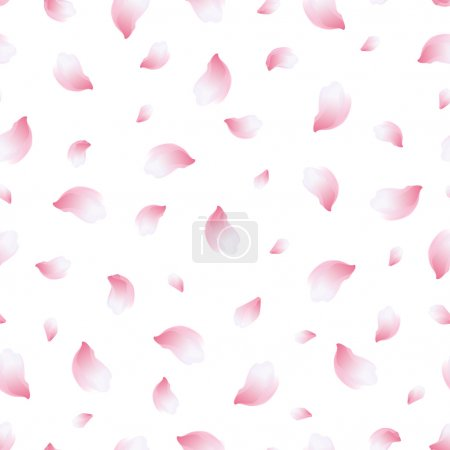 Illustration for Beautiful light spring background seamless pattern with pink flying petals of sakura - japanese cherry tree. Floral romantic white wallpaper. Vector illustration - Royalty Free Image